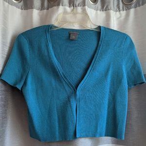 Like New Ann Taylor Blue Crop Cardigan